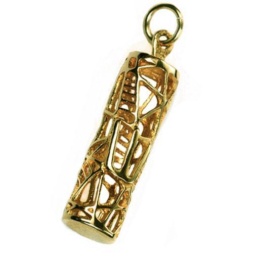 14k Gold Wired Mezuzah Pendant - Baltinester Jewelry