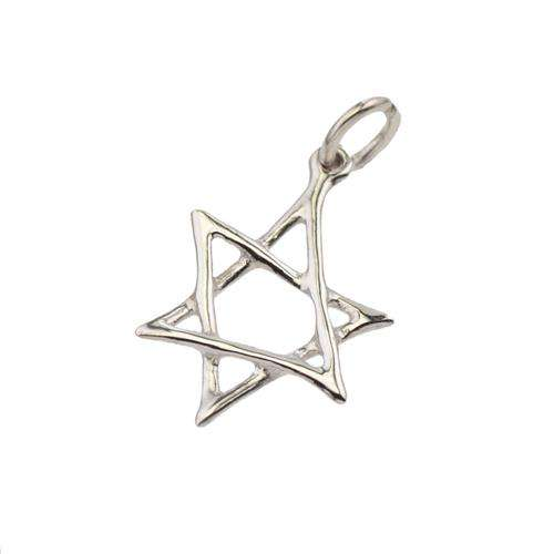 14K Gold Scrawled Star of David Pendant - White Gold - Baltinester Jewelry