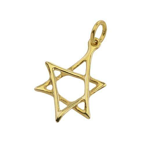 14K Gold Scrawled Star of David Pendant - Yellow Gold - Baltinester Jewelry