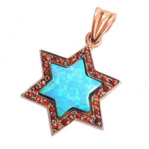 14k Rose Gold Opal and Garnet Star of David Pendant - Baltinester Jewelry