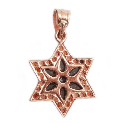 14k Rose Gold Opal and Garnet Star of David Pendant 2 - Baltinester Jewelry