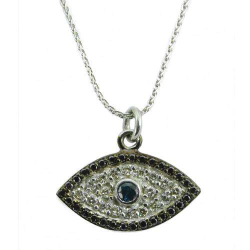 Gold Evil Eye Diamond and Sapphire Pendant With Chain - Baltinester Jewelry
