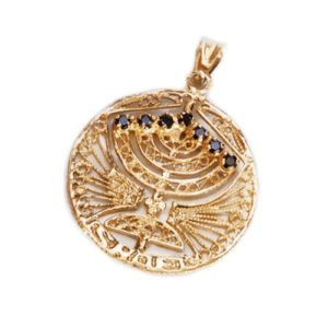 Round Menorah Pendant 14k Gold Reversible Ruby and Sapphire - Baltinester Jewelry