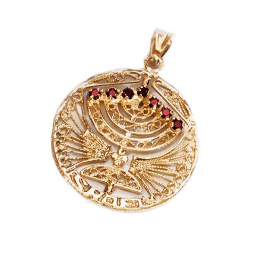 Round Menorah Pendant 14k Gold Reversible Ruby and Sapphire 2 - Baltinester Jewelry