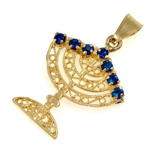 14k Gold and Precious Stones Reversible Menorah Pendant 2 - Baltinester Jewelry