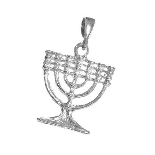 14k Gold Menorah Pendant - White Gold - Baltinester Jewelry
