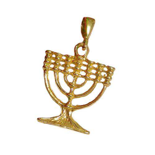 Mini 14k Gold Classic Menorah Pendant - Yellow Gold - Baltinester Jewelry