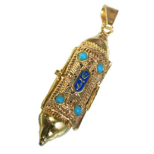 14k Gold Filigree & Enamel Mezuzah Pendant - Baltinester Jewelry