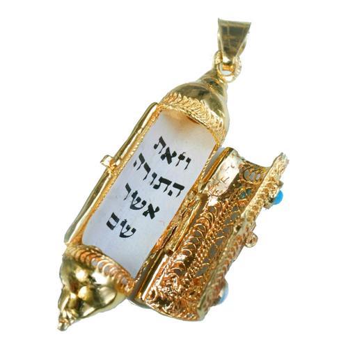 14k Gold Filigree & Enamel Mezuzah Pendant 2 - Baltinester Jewelry