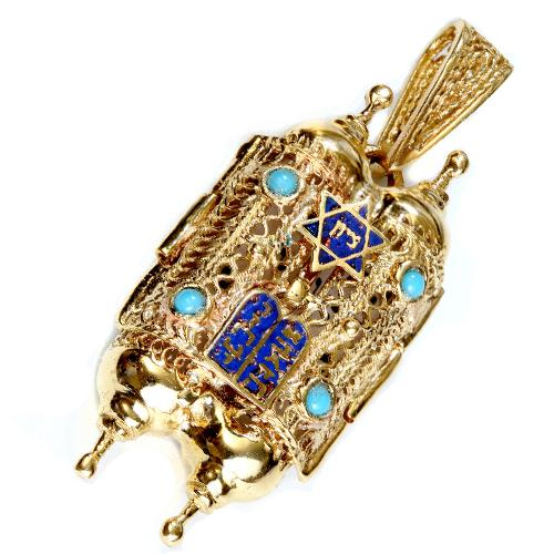 Turquoise 14k Gold Filigree Torah Pendant - Baltinester Jewelry