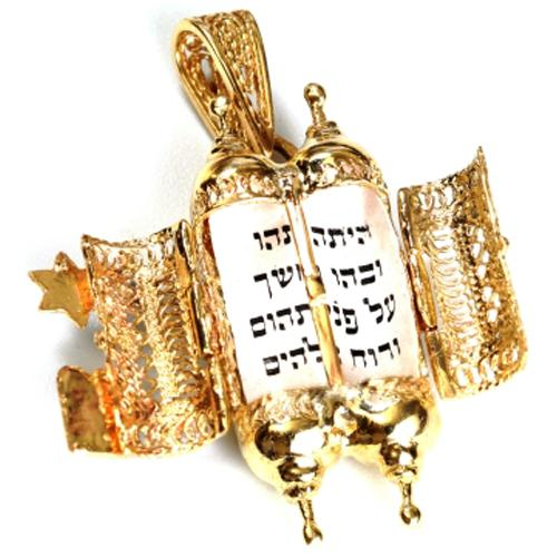 Turquoise 14k Gold Filigree Torah Pendant 2 - Baltinester Jewelry