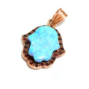 Hamsa Pendant 14k Rose Gold Opalite and Garnets - Baltinester Jewelry