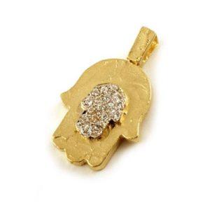 14k Gold CZ Hamsa Pendant - Baltinester Jewelry