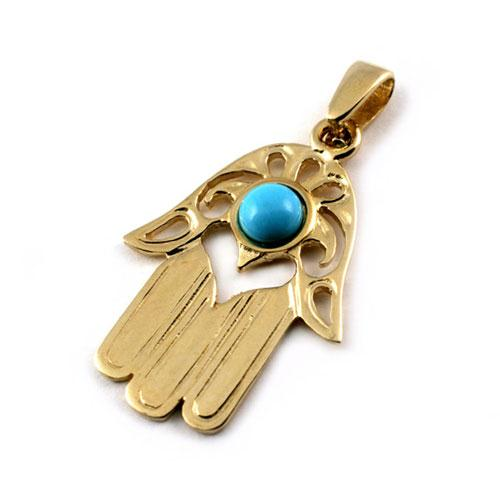 14k Gold Modern Turquoise Hamsa Pendant - Baltinester Jewelry