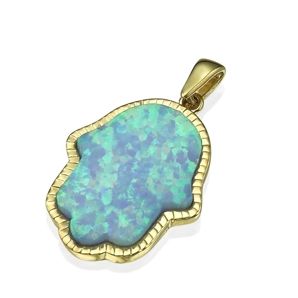 14k Yellow Gold Blue Opal Hamsa Pendant - Baltinester Jewelry