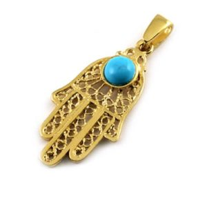 14k Gold Turquoise Filigree Large Hamsa Pendant - Baltinester Jewelry