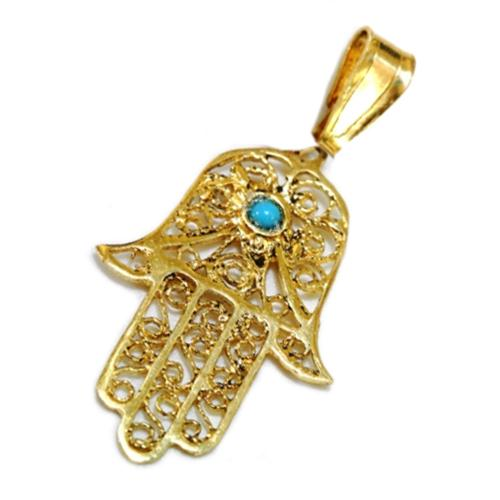 14k Yellow Gold Filigree Turquoise Hamsa Hand Pendant - Baltinester Jewelry