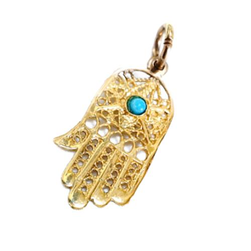 14k Gold Filigree Turquoise Hamsa Pendant - Baltinester Jewelry