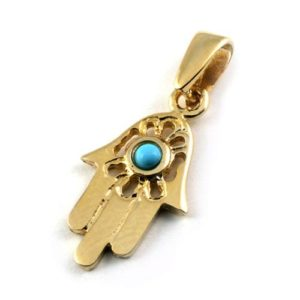 14k Gold Hamsa Pendant with Turquoise Stone - Baltinester Jewelry