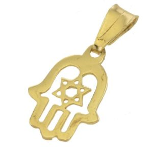 14K Gold Star of David Hamsa Pendant - Baltinester Jewelry