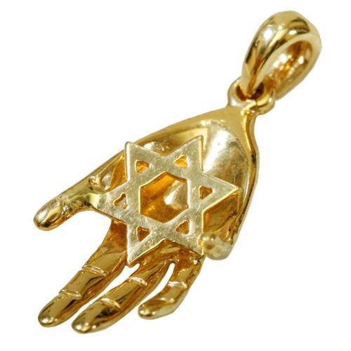 14k Gold Hand Star of David Pendant - Baltinester Jewelry