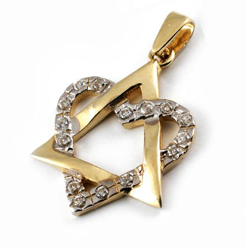 14k Gold CZ Heart Large Star of David - Baltinester Jewelry