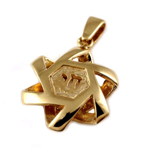 14k Gold Puffy Star of David Chai Pendant - Baltinester Jewelry