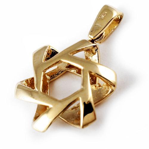 14k Gold Puffy Star of David Pendant - Baltinester Jewelry