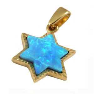 14k Gold Opal Star of David Pendant - Baltinester Jewelry
