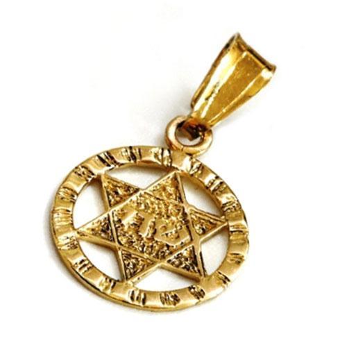 14k Gold Round Textured Star of David Pendant - Baltinester Jewelry