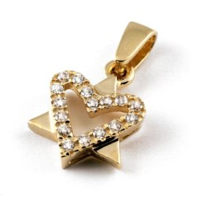 14k Gold CZ Heart Star of David Pendant - Baltinester Jewelry