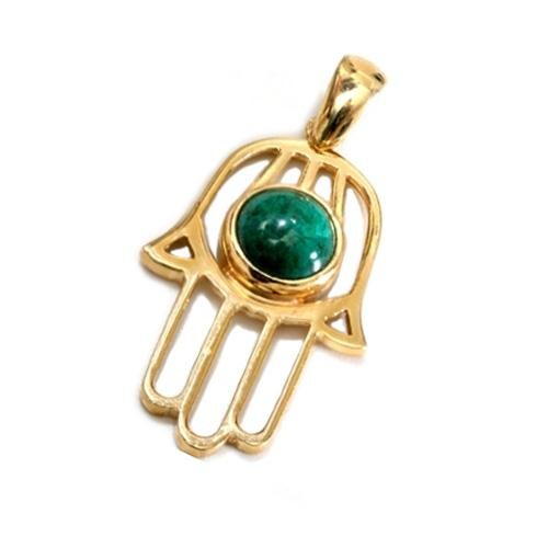 14k Gold Eilat Stone Hamsa Pendant - Baltinester Jewelry