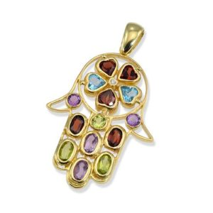 14k Gold Diamond and Semi Precious Stones Hamsa Pendant - Baltinester Jewelry