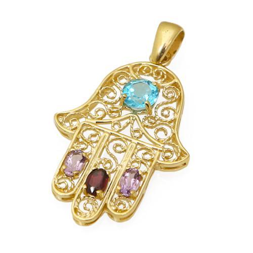 14k Gold and Semi-Precious Stones Hamsa Pendant - Baltinester Jewelry