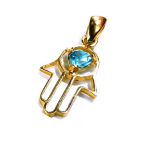 14k Gold Heart Shaped Blue Topaz Hamsa Pendant - Baltinester Jewelry