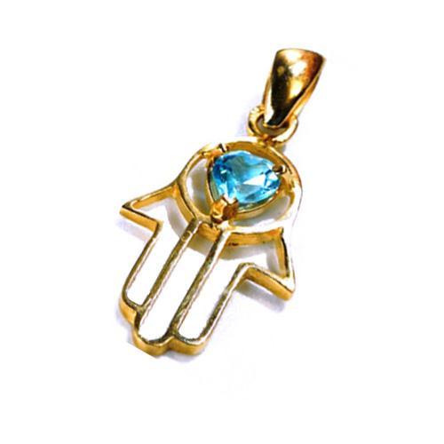 14k Gold Heart Shaped Blue Topaz Hamsa Pendant - Baltinester Jewelry
