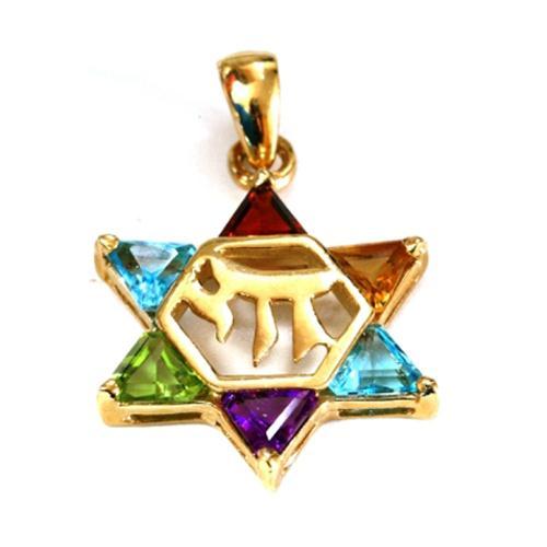 14k Gold Star of David Chai Multicolored Stone Pendant - Baltinester Jewelry