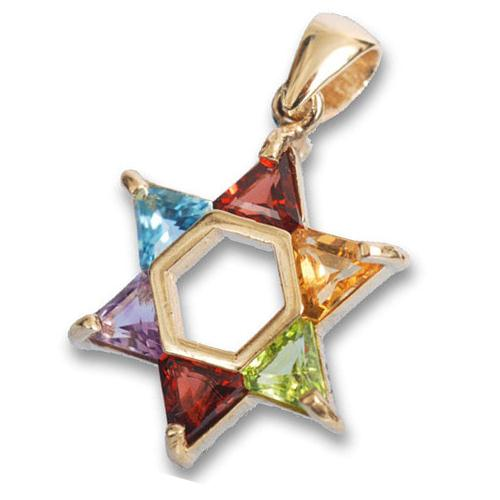 14K Gold Multi Stoned Magen David Pendant - Baltinester Jewelry