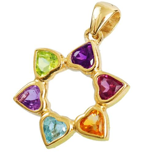 14k Gold Heart Shaped Multi-Colored Star of David Pendant - Baltinester Jewelry
