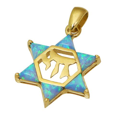 14k Gold Opal Star of David Chai Pendant - Baltinester Jewelry