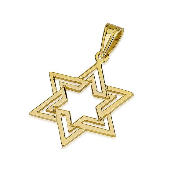 Star of David Pendant 14k Gold Polished Interlocking Triangle Design - Baltinester Jewelry