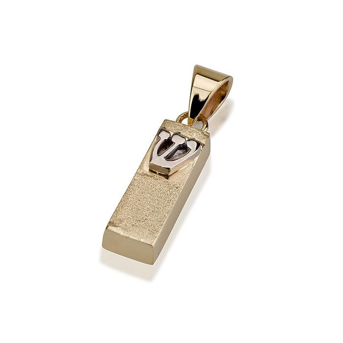 14k Small Mezuzah Pendant Stardust Finish - Baltinester Jewelry