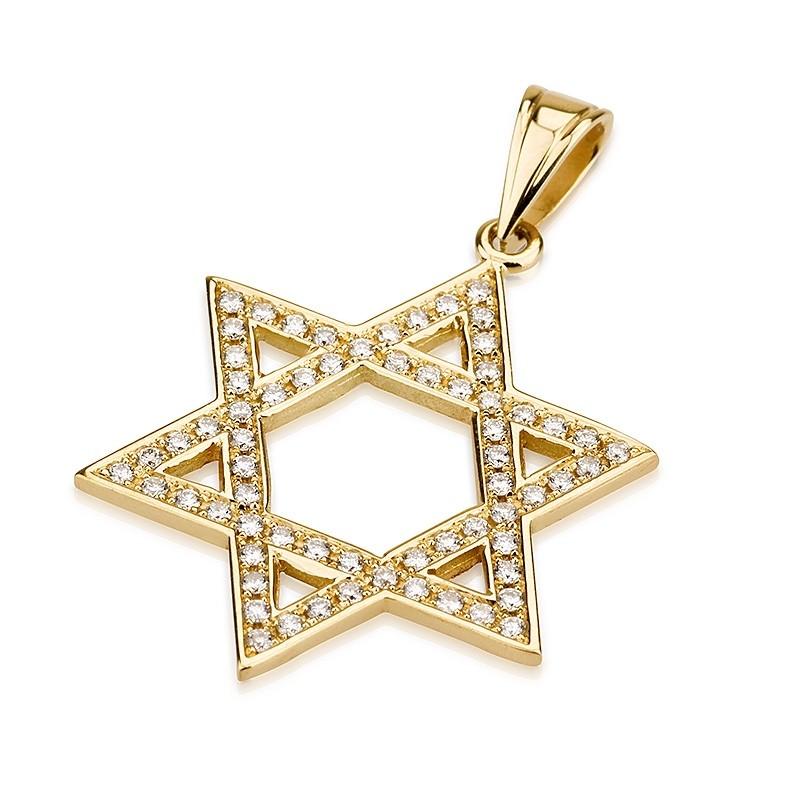 14k Yellow Gold Cutout Star of David Diamond Studded Pendant - Baltinester Jewelry