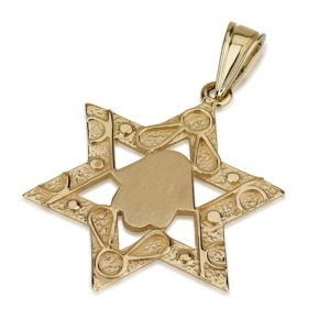 Embellished Small Hamsa 14k Star of David Pendant - Baltinester Jewelry