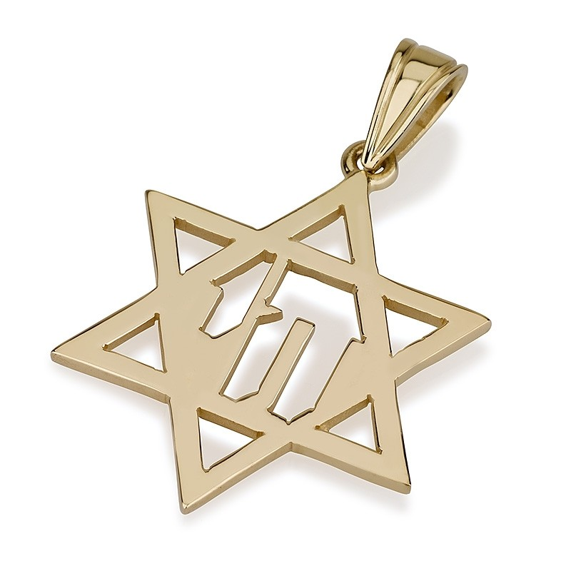 14k Yellow Gold Hai Star of David Pendant - Baltinester Jewelry
