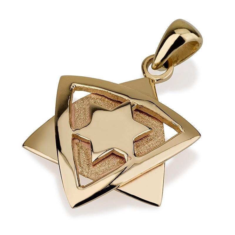 Embedded Star of David 14k Yellow Gold Dual Finish - Baltinester Jewelry