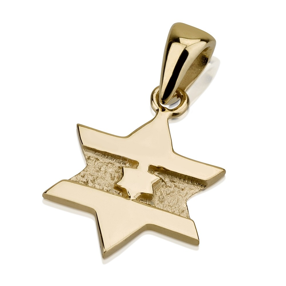 Textured Star of David Embedded 14k Pendant - Baltinester Jewelry