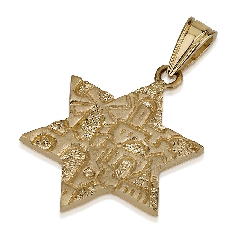 Carved Jerusalem Star of David Pendant 14k - Baltinester Jewelry
