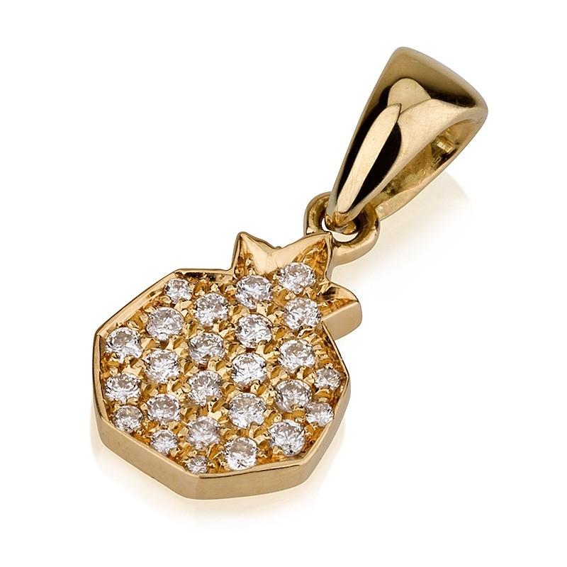 Pave Diamonds 14k Pomegranate Pendant - Baltinester Jewelry