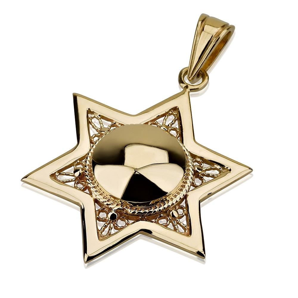 Star of David Domed Filigree Detail 14k Pendant - Baltinester Jewelry